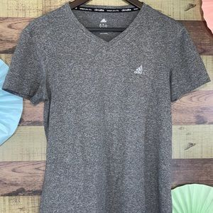 Adidas women's basic v neck t shirt in gray sz M